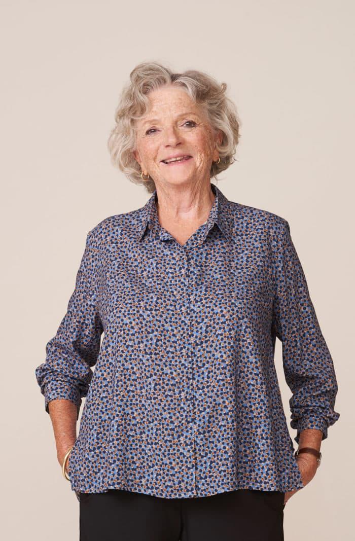 forestime vetement senior chemise sans bouton imprimé bleu charlotte