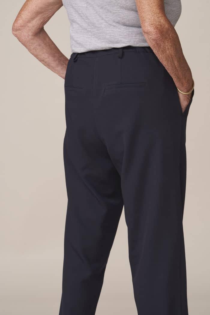 pantalon femme droit marine facile à fermer ceinture élastiquée