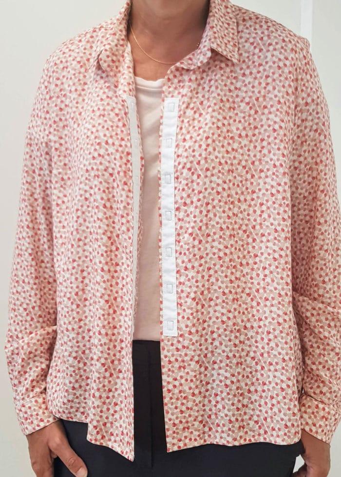 forestime vetement senior chemise sans bouton charlotte rose ouverture par aimants