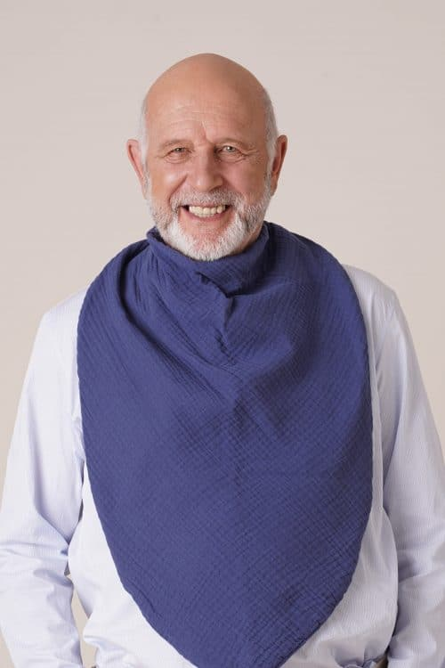 bavoir adulte homme foulard de table uni bleu indigo pour seniors ou personnes handicapées