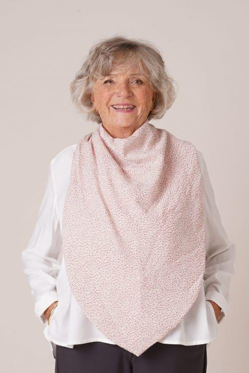 bavoir pour personnes agees Flore rose poudré imprimé fleurs
