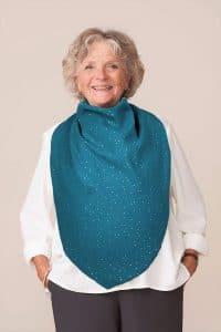 forestime bavoir pour senior foulard de table flore bleu canard paillettes dorées