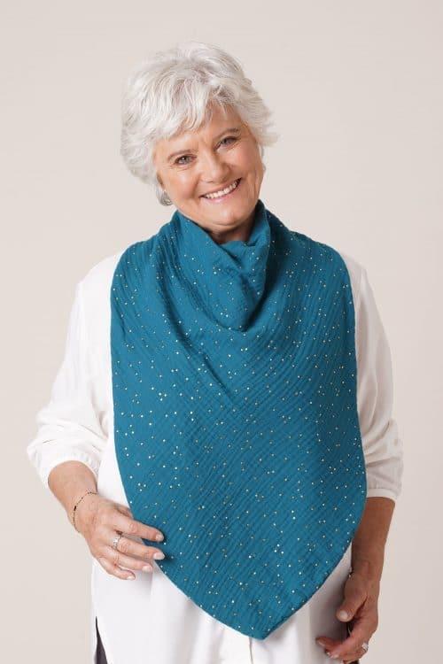 Bavoir pour adulte personnes âgées Flore bleu pois dorés