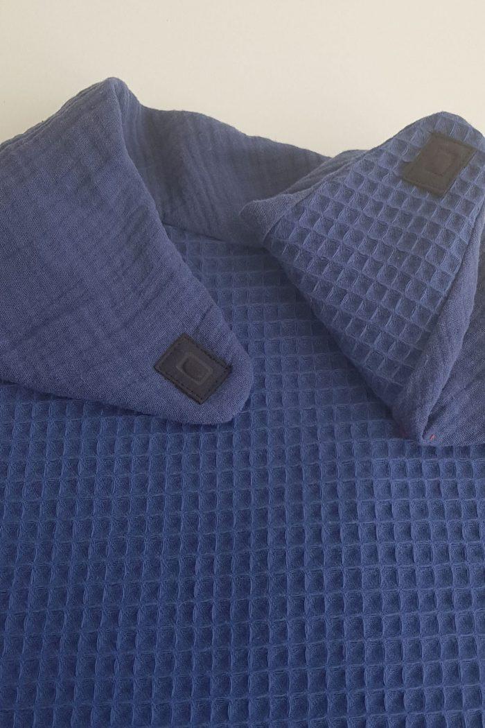 bavoir mixte foulard de table dessus gaze de coton bleu dessous nid d'abeille