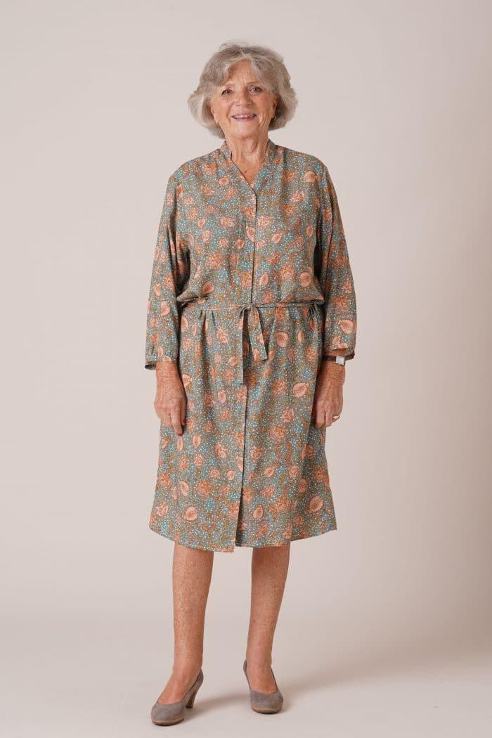 Robe pour personnes âgées avec ceinture Rosalie imprimé vert