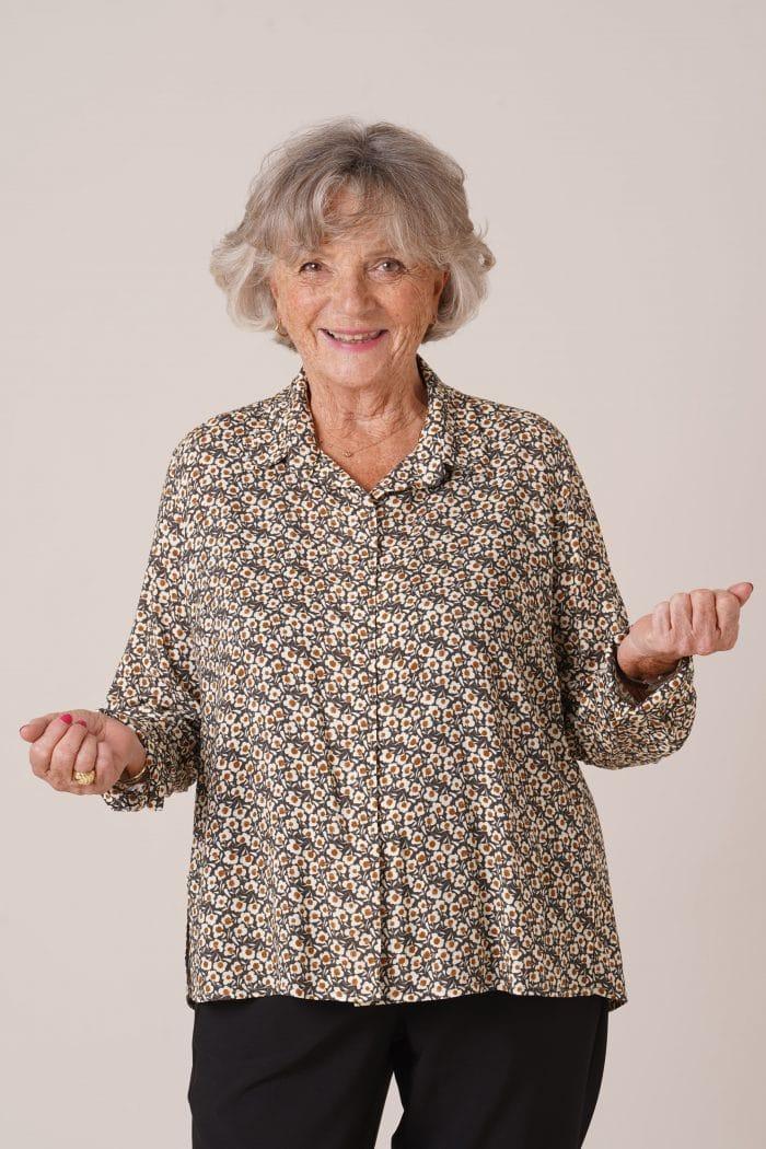 Chemise pour senior Charlotte imprimé kaki
