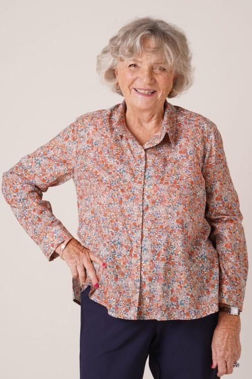 Chemise en coton pour seniors Charlotte fleurs roses